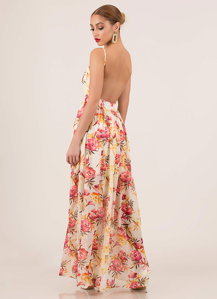 Spring Again Floral Open-Back Maxi Dress IVORY