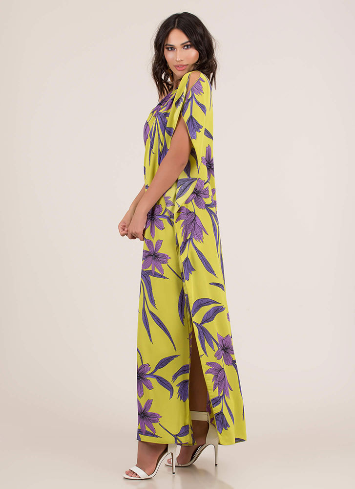 Vacay Vibes Flowy Floral Maxi Dress LIME