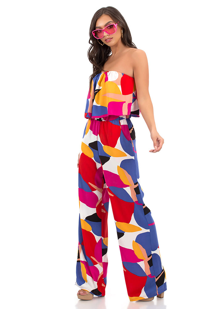 In Full Color Strapless Tiered Jumpsuit MULTI (Final Sale)