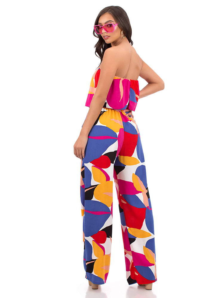 In Full Color Strapless Tiered Jumpsuit MULTI