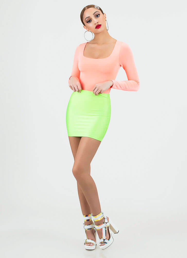 Please Me Baby Nylon Miniskirt NEONGREEN