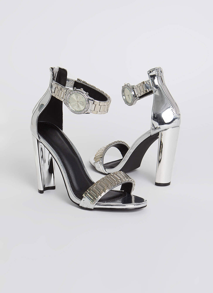 It's About Time Watch Band Heels SILVER