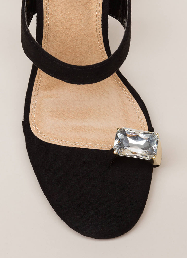 Put A Ring On It Lucite Mule Wedges BLACK