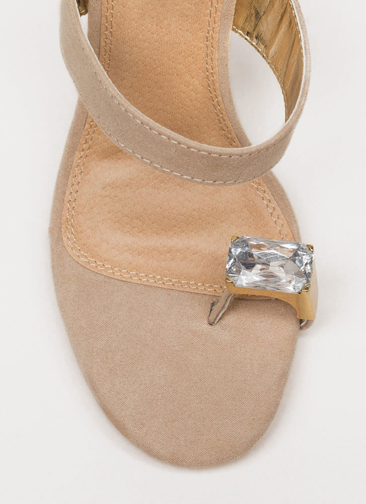 Put A Ring On It Lucite Mule Wedges NUDE