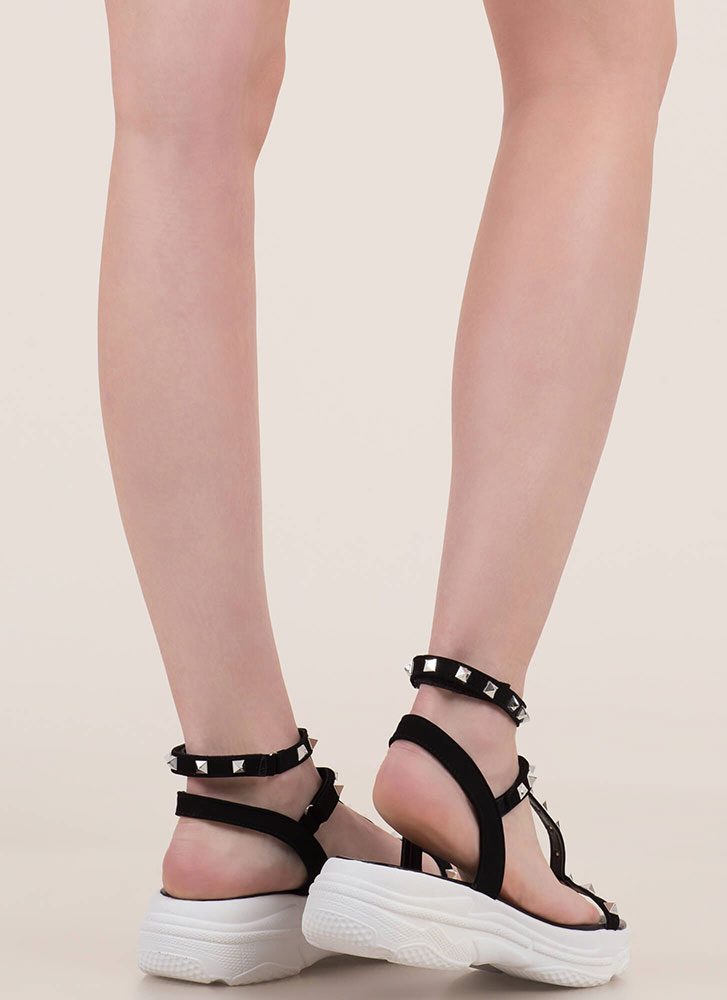 Sporty Stud Strappy Platform Sandals BLACK