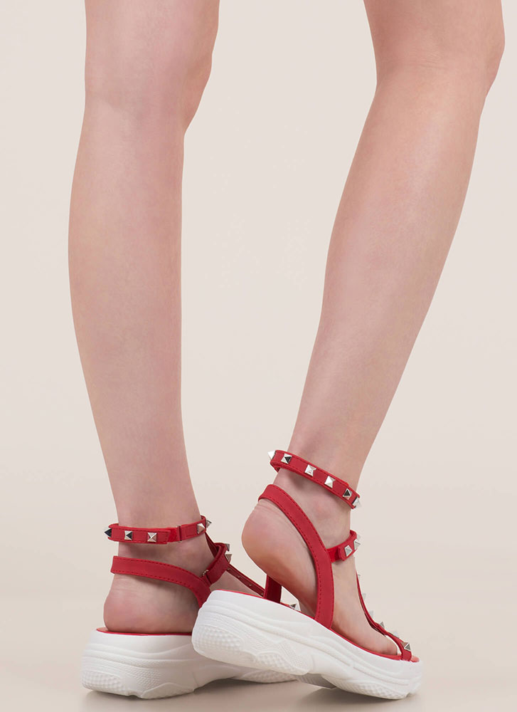 Sporty Stud Strappy Platform Sandals RED