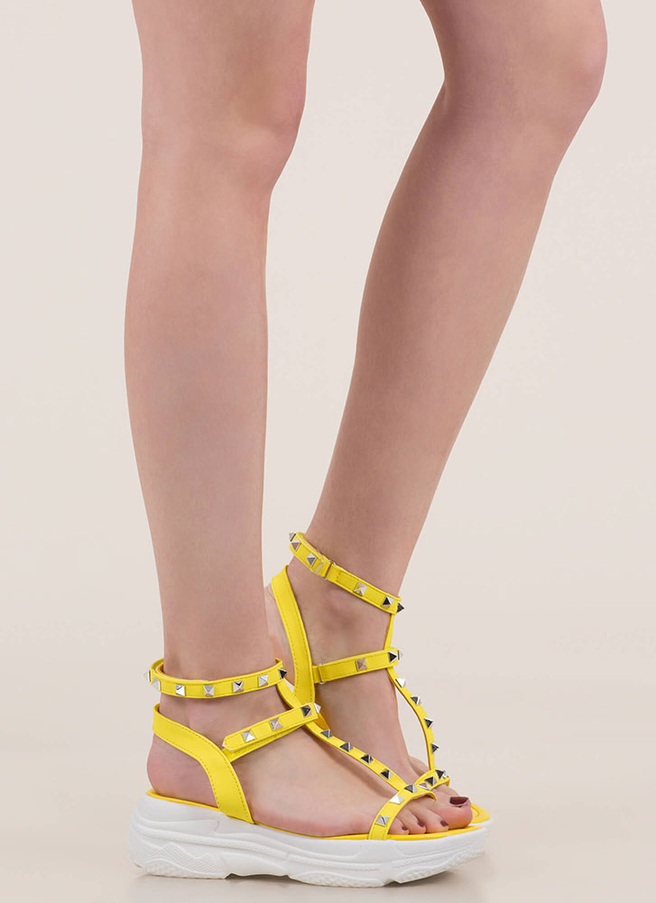 Sporty Stud Strappy Platform Sandals YELLOW