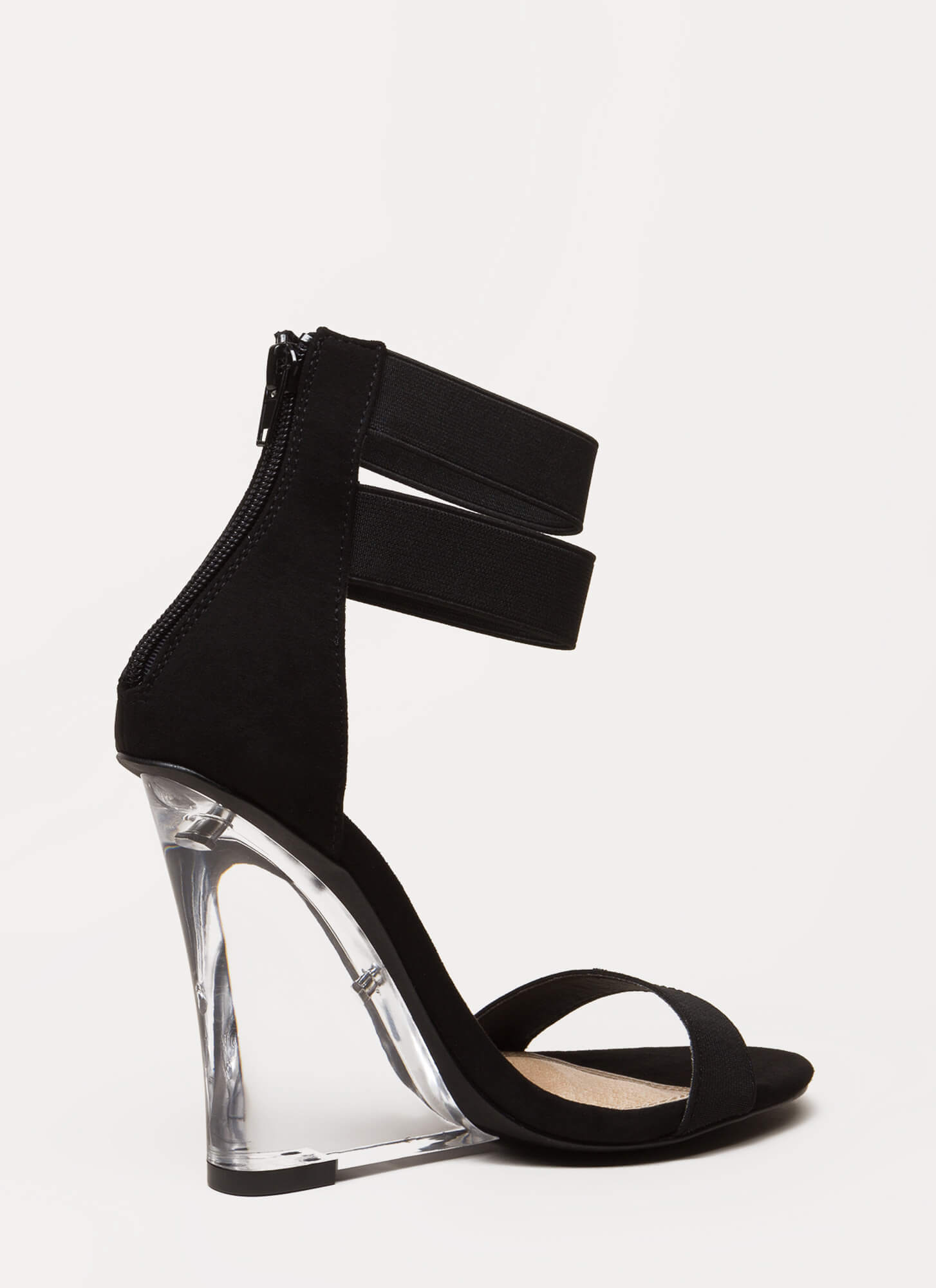 Clear The Room Strappy Lucite Wedges BLACK