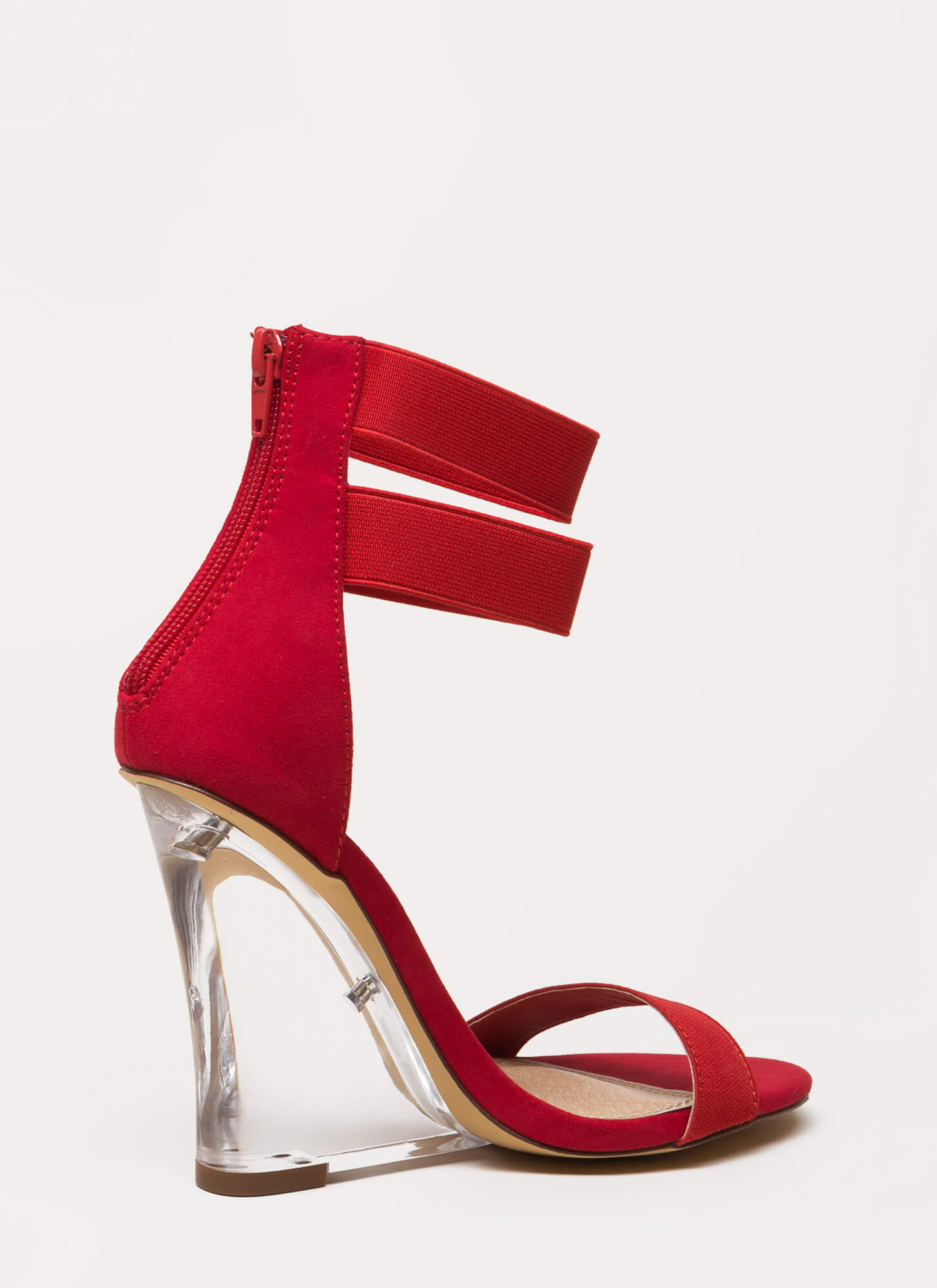 Clear The Room Strappy Lucite Wedges RED