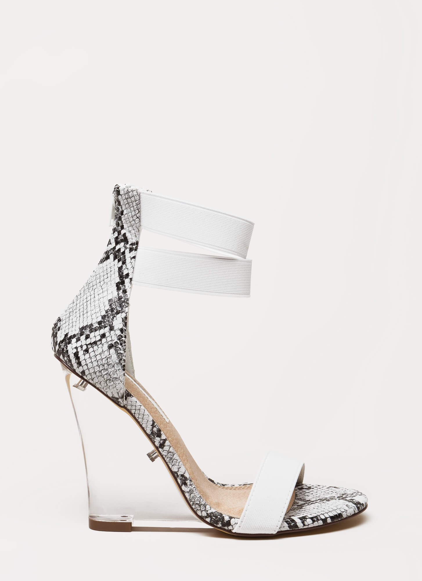 Clear The Room Strappy Lucite Wedges SNAKE