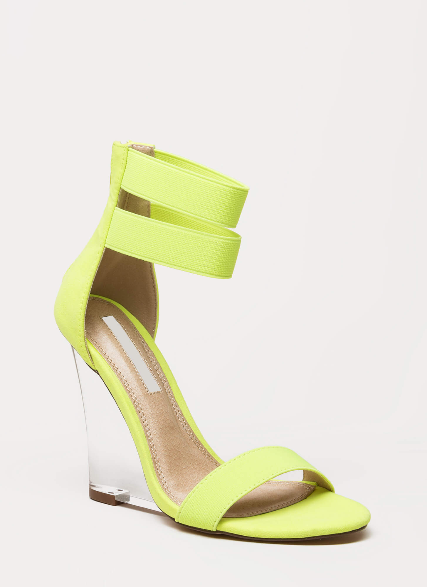 Clear The Room Strappy Lucite Wedges YELLOW