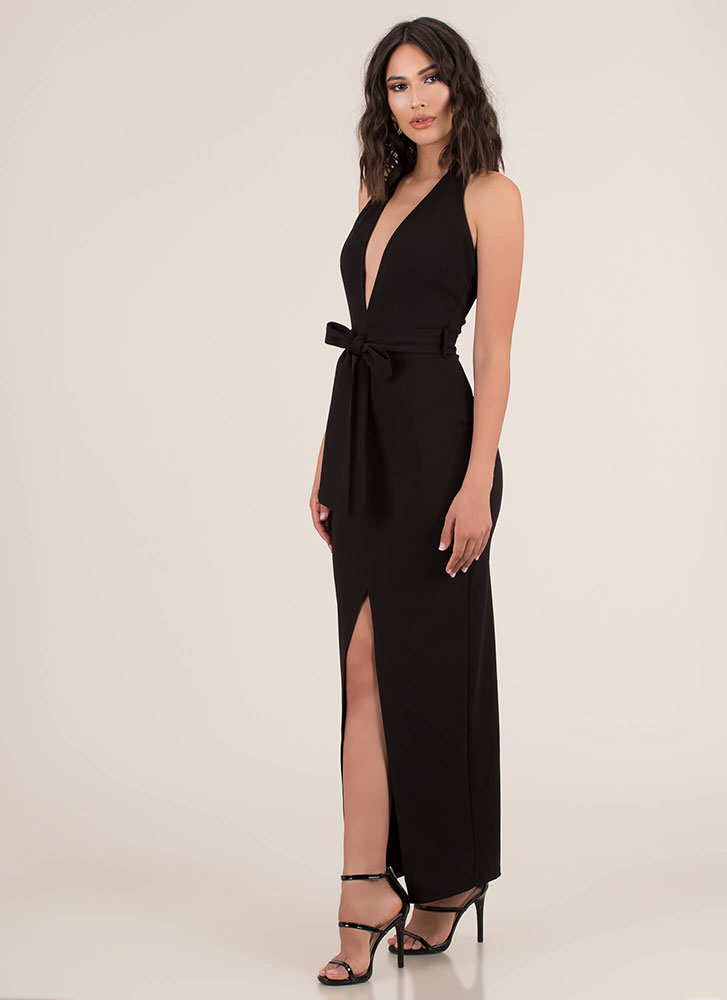 Take The Plunge Tied Halter Maxi Dress BLACK