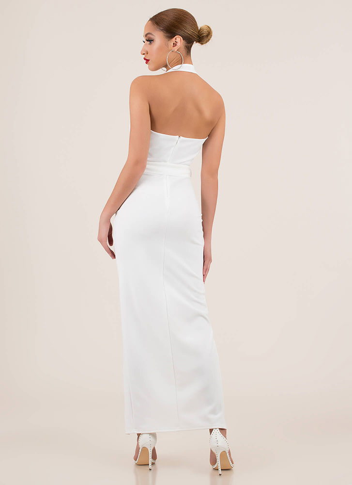 Take The Plunge Tied Halter Maxi Dress WHITE