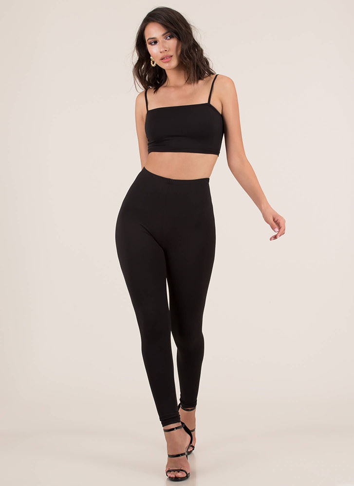 Perfect Match Tank Top And Legging Set BLACK