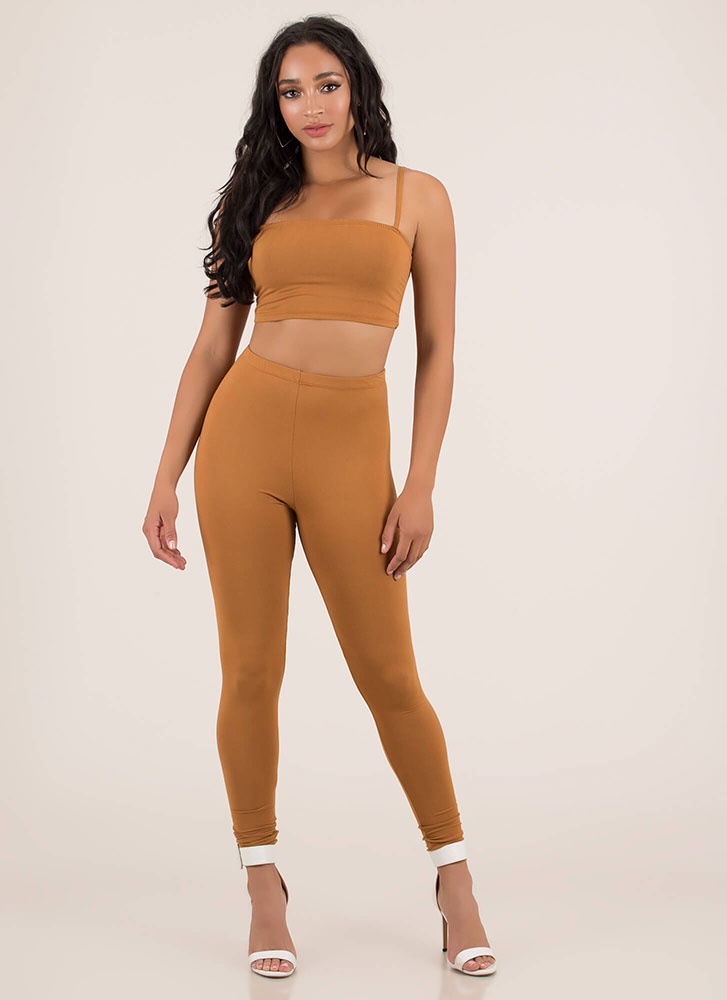 Perfect Match Tank Top And Legging Set CAMEL