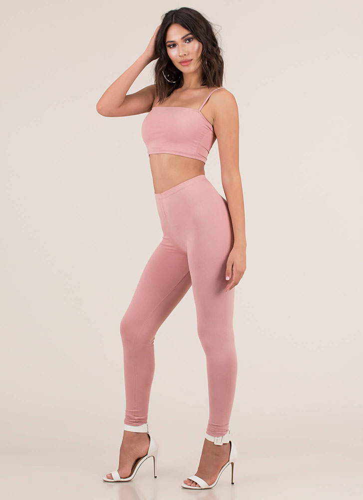 Perfect Match Tank Top And Legging Set MAUVE