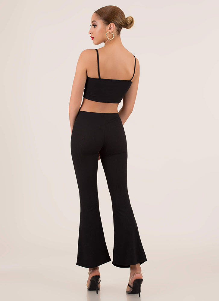 Flare Up Crop Top And Bell-Bottoms Set BLACK