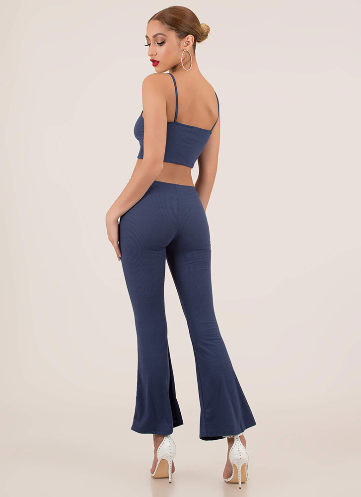 Flare Up Crop Top And Bell-Bottoms Set DENIM