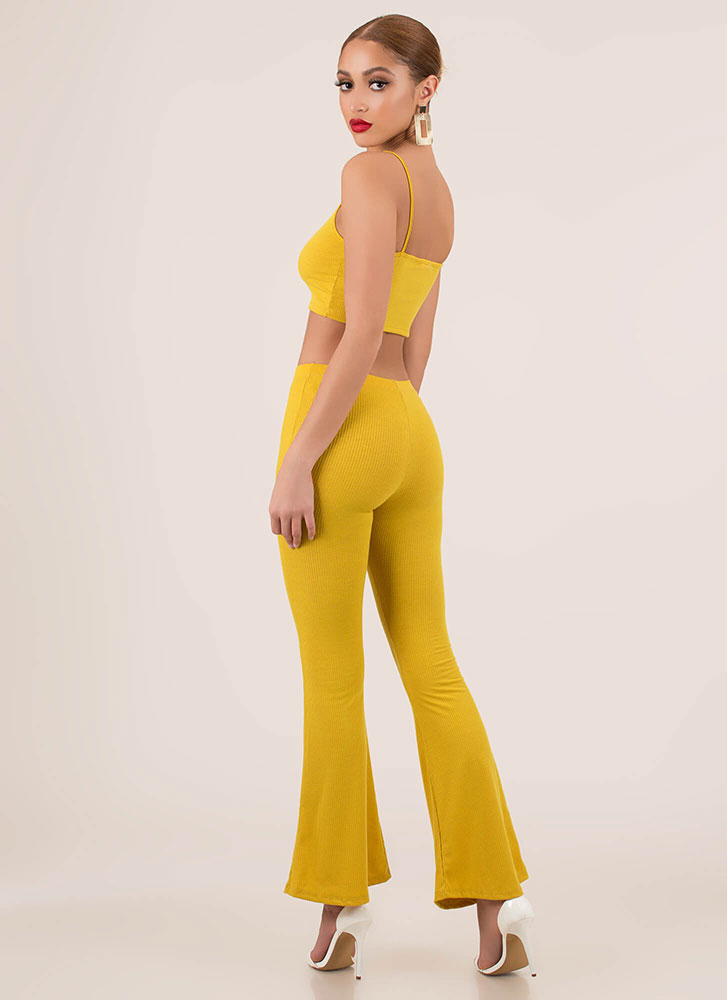 Flare Up Crop Top And Bell-Bottoms Set MUSTARD