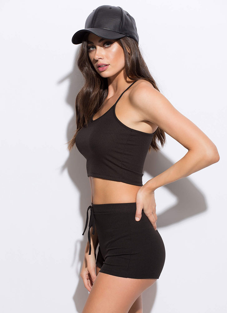 Too Easy Ribbed Top And Shorts Set BLACK