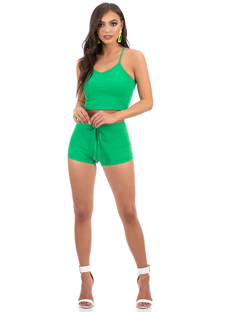 Too Easy Ribbed Top And Shorts Set GREEN