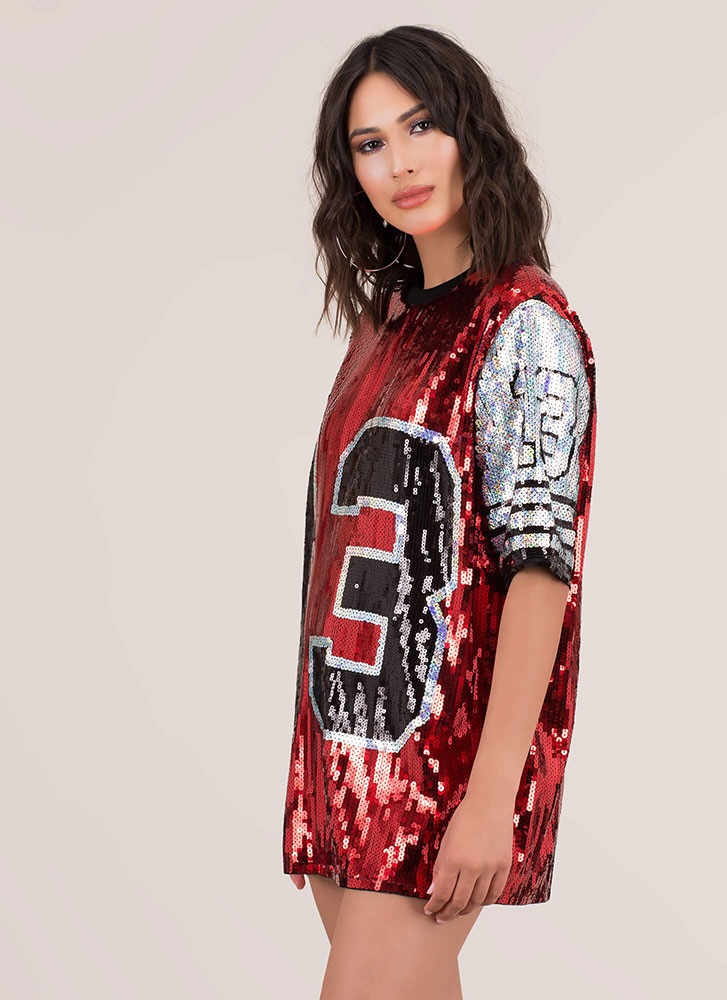 13 Reasons I Love My Sequin Jersey Dress RED