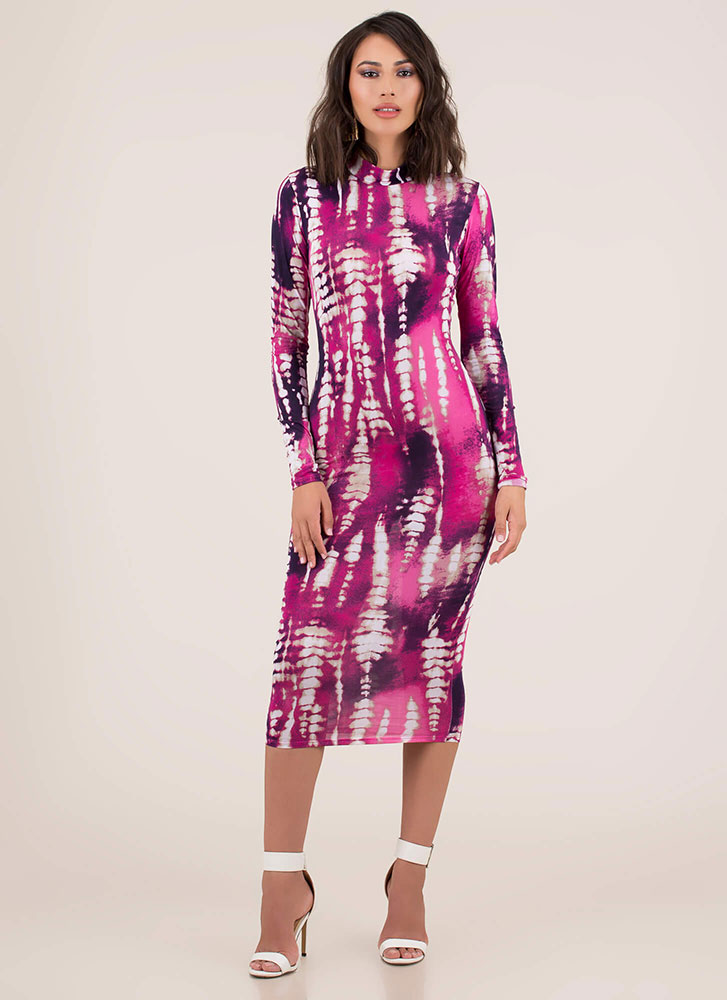Abstract Art Dyed Mockneck Midi Dress PINKMULTI