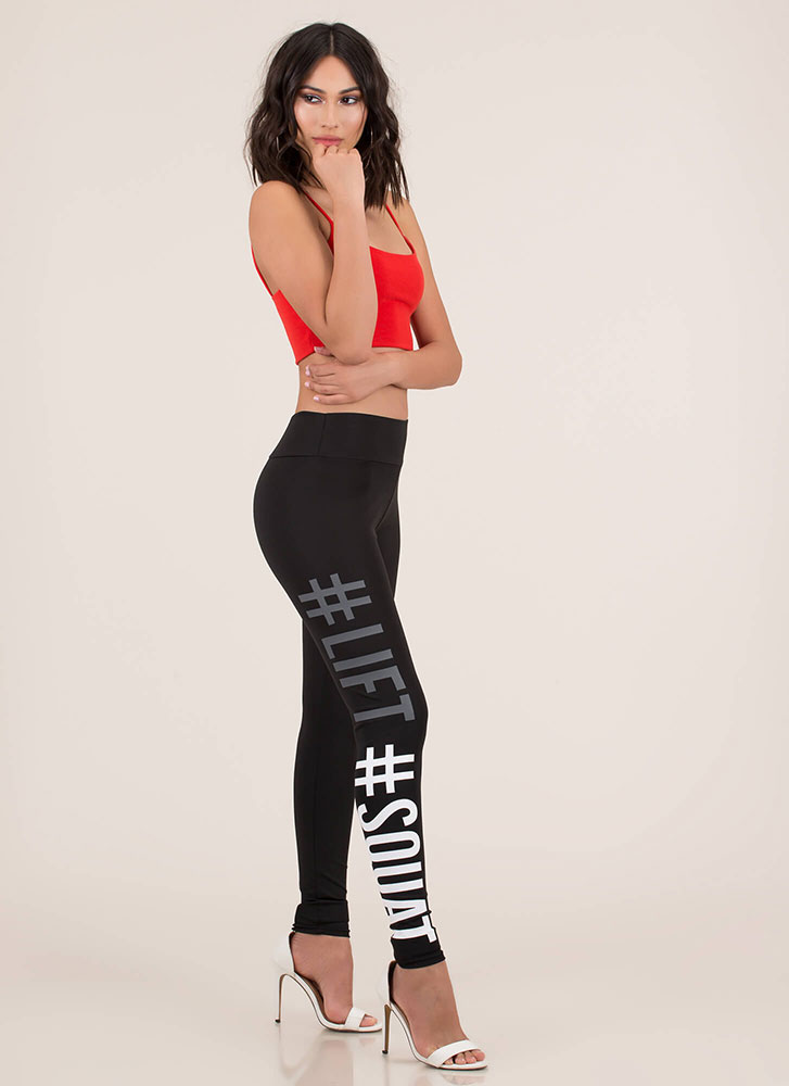Lifts And Squats Graphic Leggings BLACK