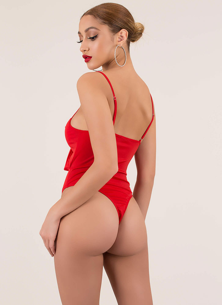 Tie It Again Knotted Cut-Out Swimsuit RED