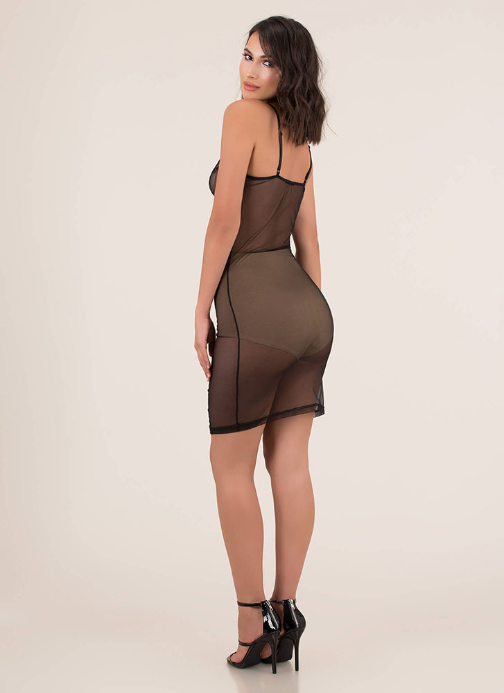Oh-So-Sheer Lace And Mesh Midi Dress BLACK (Final Sale)