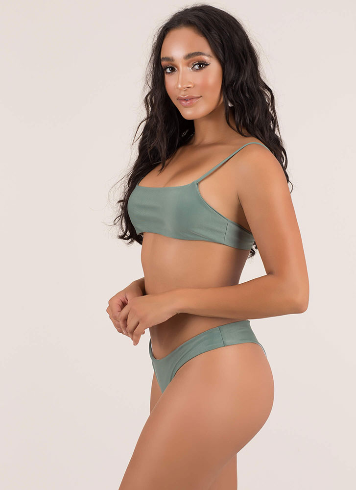 Slim Chance Solid Thong Bikini Set OLIVE