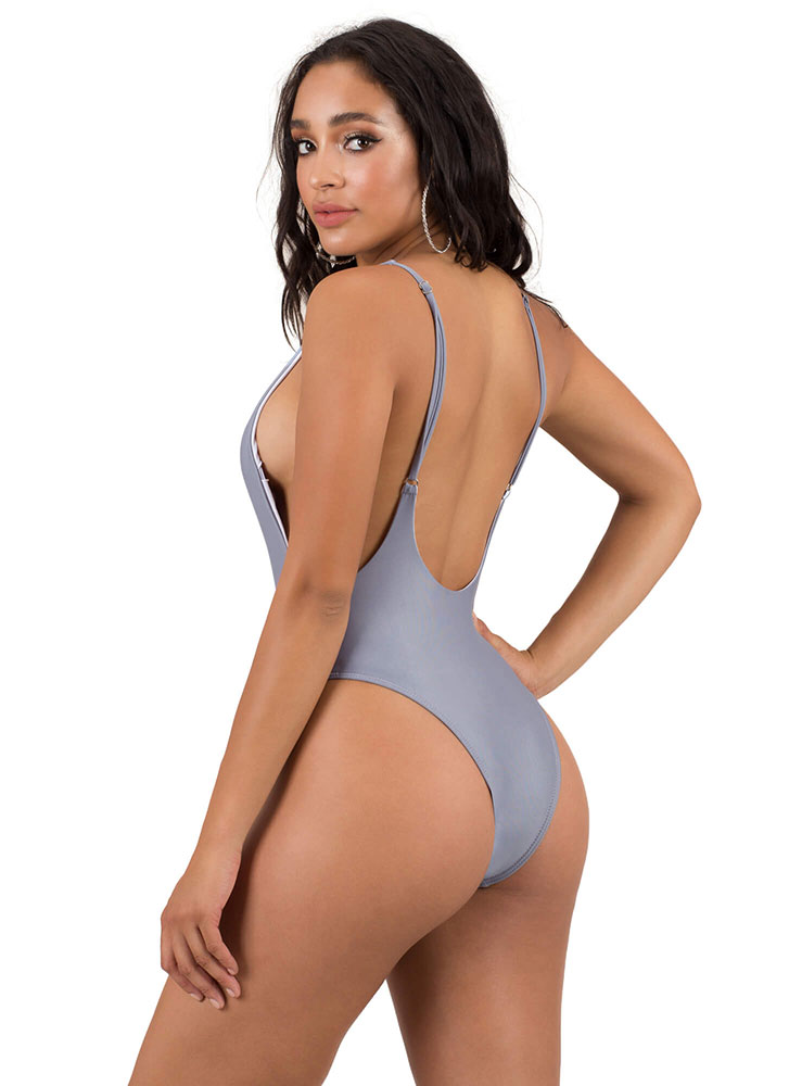 Flex Your Muscle Open-Back Swimsuit GREY