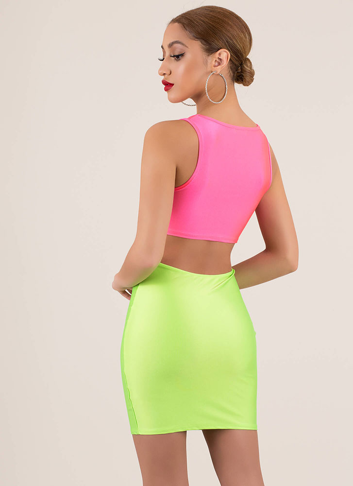 Ring Ring Cut-Out Colorblock Minidress FUCHSIAGRN