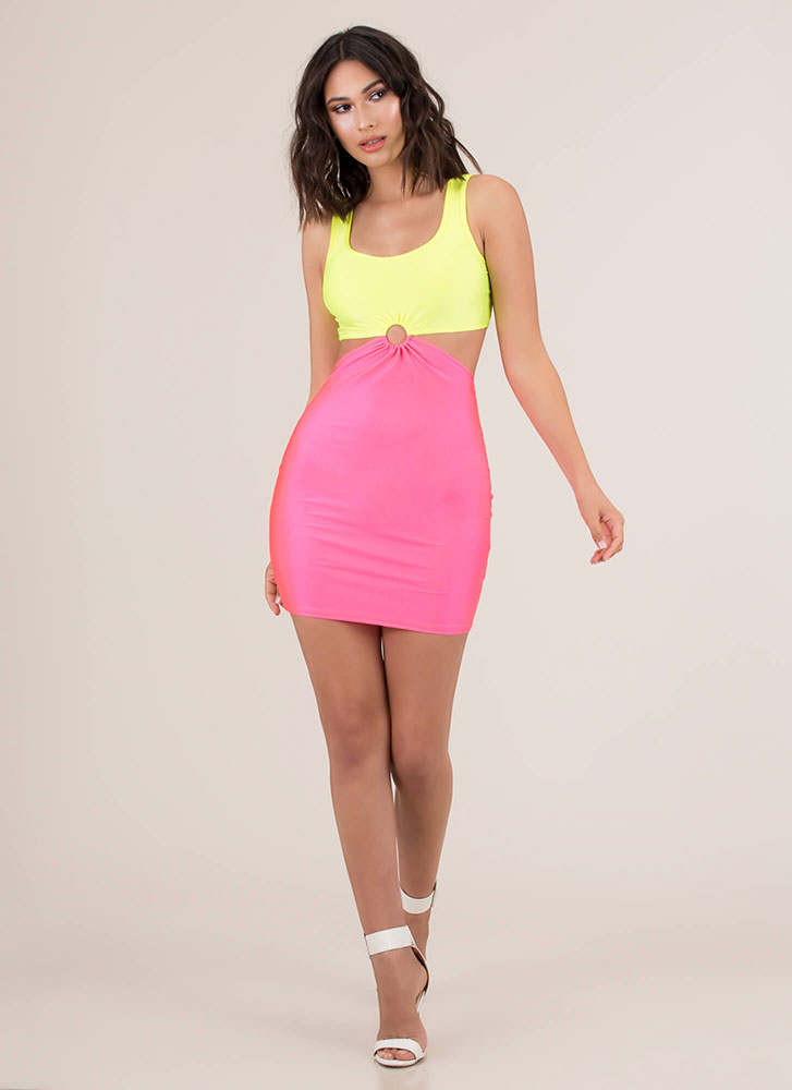 Ring Ring Cut-Out Colorblock Minidress NYELLOWPINK