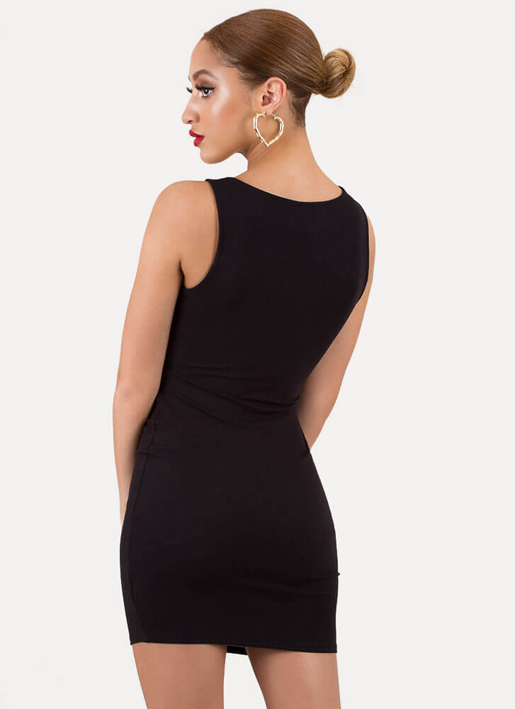 You Knotty Girl Ribbed Cut-Out Minidress BLACK