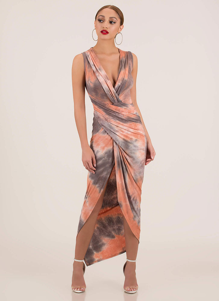 Wrap Goddess Draped Tie-Dye Maxi Dress ORANGEMULTI