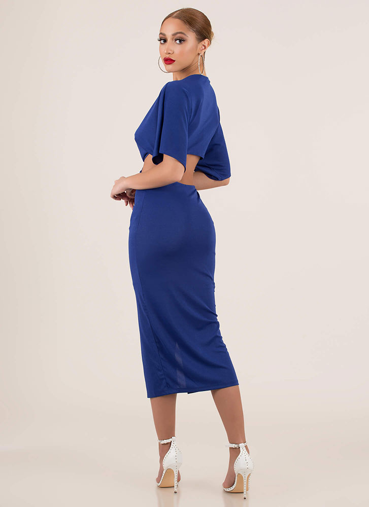 Ring True Plunging Cut-Out Midi Dress ROYAL