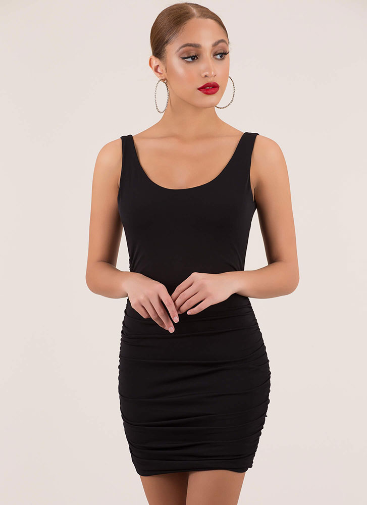 Back At It Again Ruched Minidress BLACK
