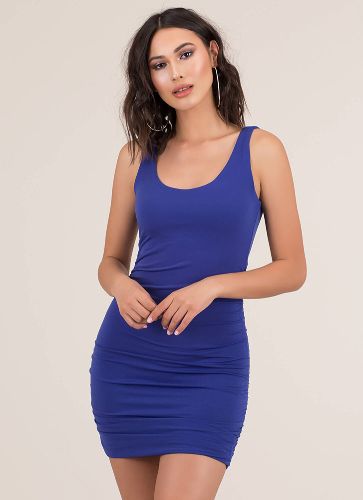 Back At It Again Ruched Minidress ROYAL