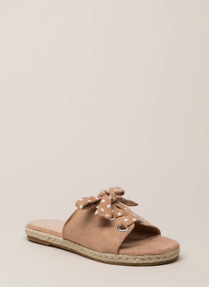 Cutie Lace-Up Polka Dot Slide Sandals TAUPE