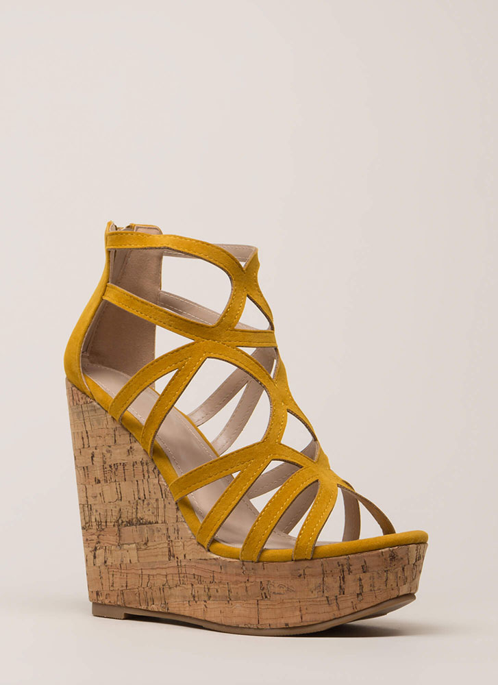 Cork It Cut-Out Caged Platform Wedges MUSTARD