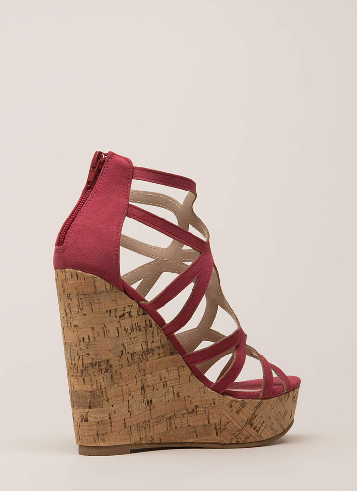 Cork It Cut-Out Caged Platform Wedges PLUM