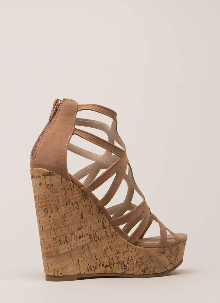 Cork It Cut-Out Caged Platform Wedges TAUPE (You Saved $20)