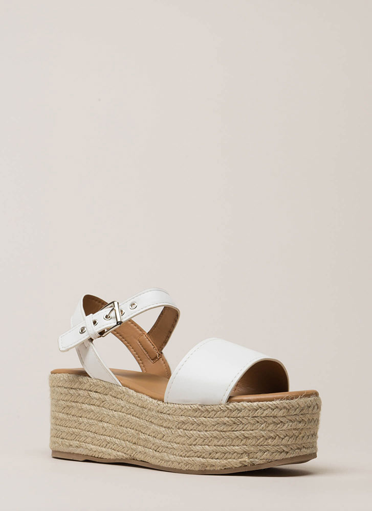 This Is My Platform Espadrille Wedges WHITE