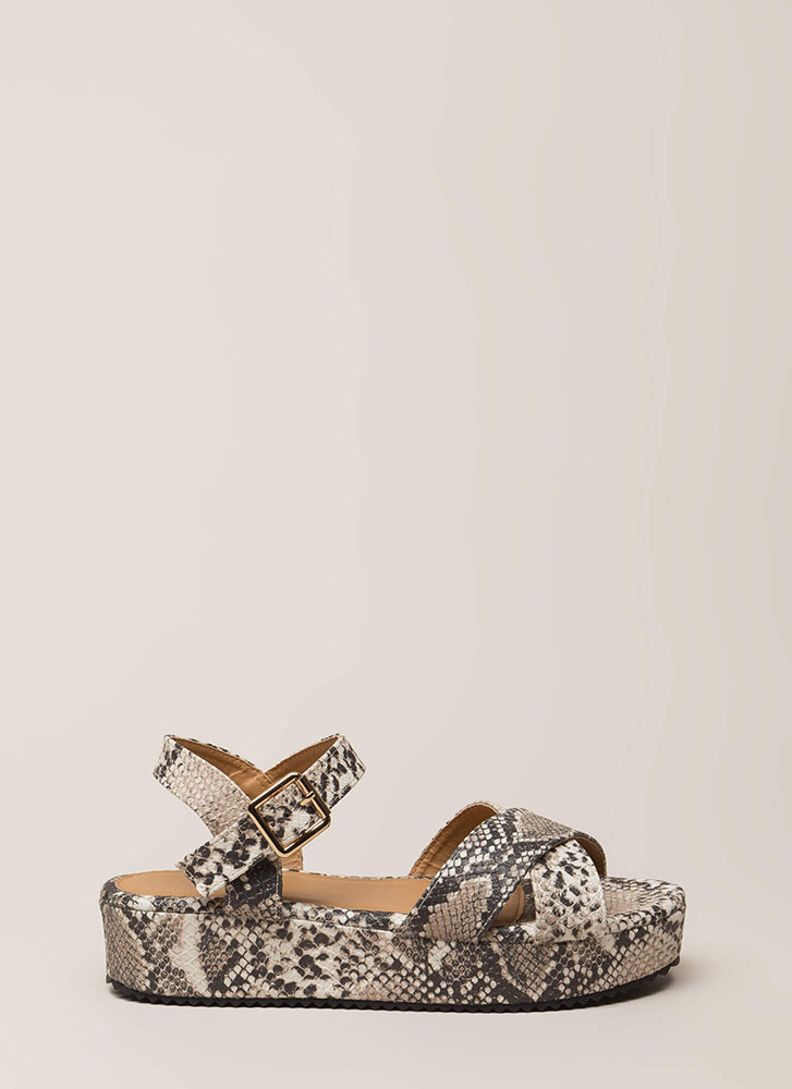 Hiss Hiss Faux Snake Platform Sandals BEIGEBROWN (Final Sale)