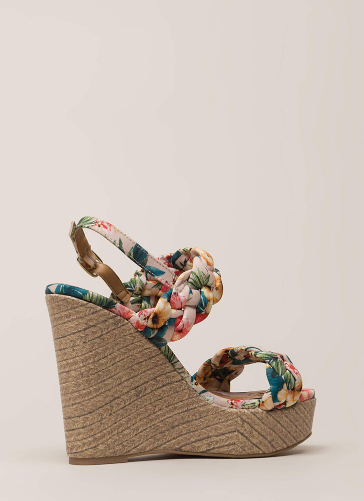 Braid New World Chunky Floral Wedges NUDEMULTI (You Saved $19)
