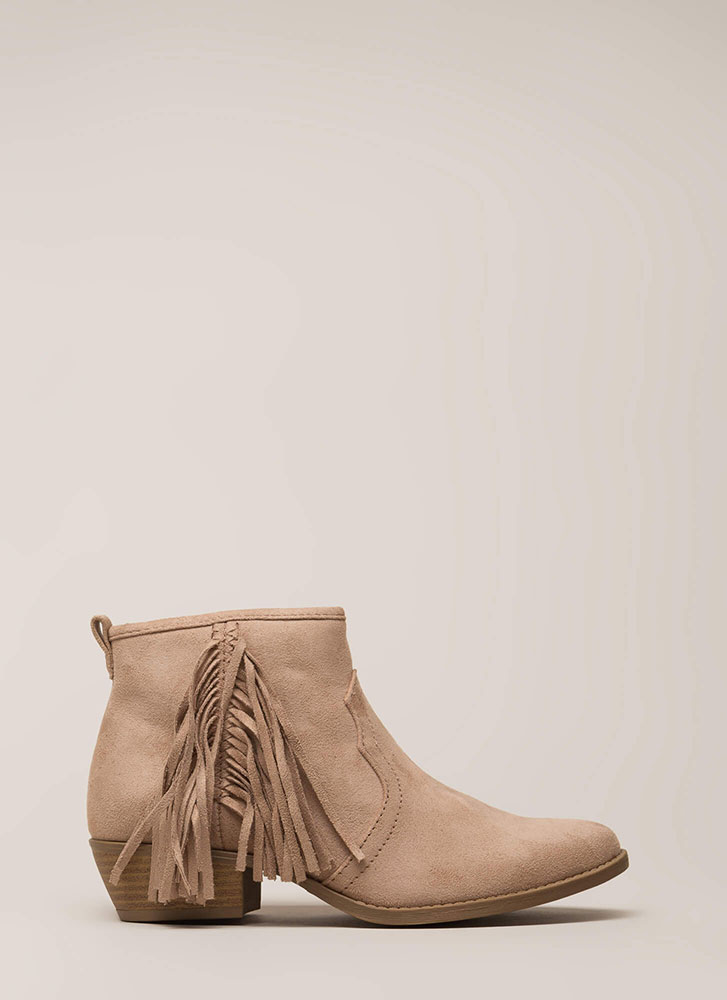 Heading West Fringed Block Booties CHESTNUT