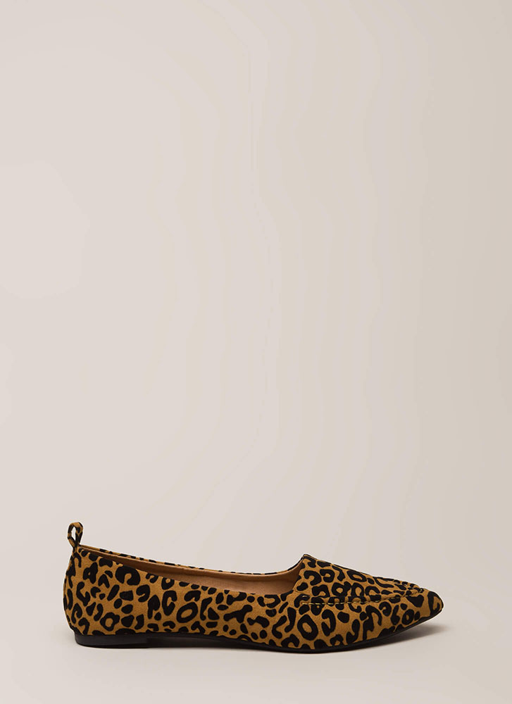 Lady Leopard Pointy Faux Suede Flats CAMEL