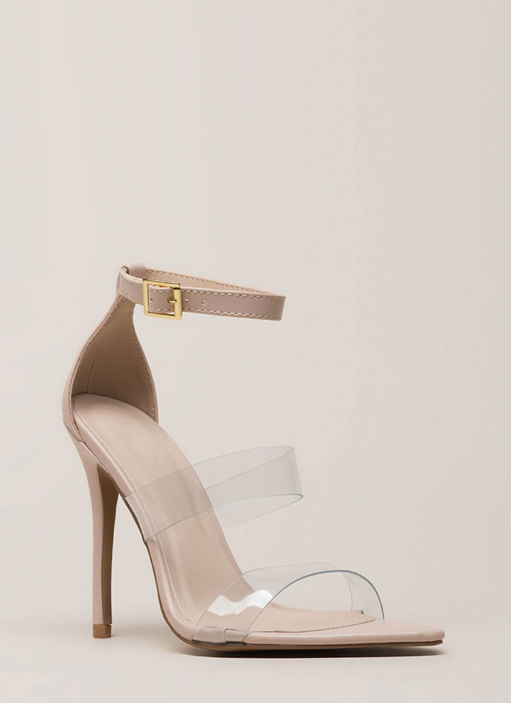 Clear Focus Strappy Faux Leather Heels NUDE
