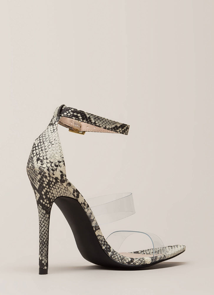 Clear Focus Strappy Faux Snake Heels STONEBLACK